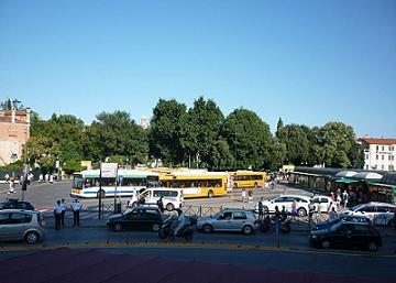buses and taxi's at piazzale roma venice italy