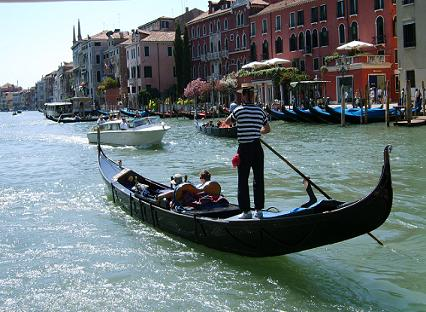 with the gondola through the grand canal in venice italy