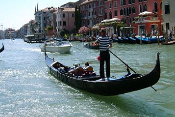 a gondola sailing in grand canal