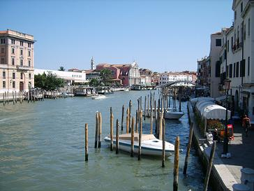 Venice Italy grand canal with train station