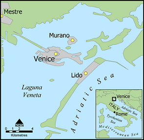 map of Venice with the Lido