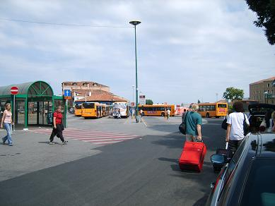 at the bus station in Venice